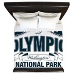 Olympic National Park Blue Sign King Duvet