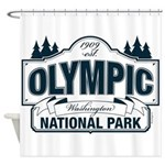 Olympic National Park Blue Sign Shower Curtain
