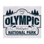 Olympic National Park Blue Sign Throw Blanket