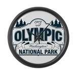 Olympic National Park Blue Sign Large Wall Clock