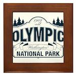 Olympic National Park Blue Sign Framed Tile