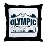 Olympic National Park Blue Sign Throw Pillow