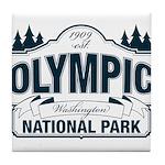 Olympic National Park Blue Sign Tile Coaster