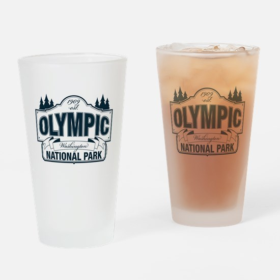 Olympic National Park Blue Sign Drinking Glass