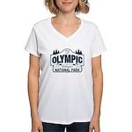 Olympic National Park Blue Sign Women's V-Neck T-S