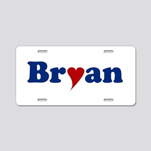 Bryan with Heart Aluminum License Plate