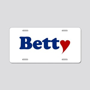 Betty with Heart Aluminum License Plate