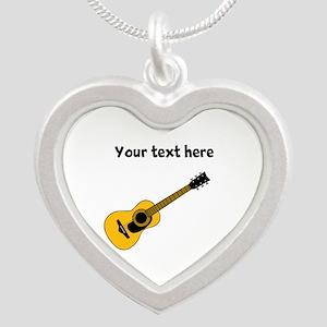 Customizable Guitar Silver Heart Necklace