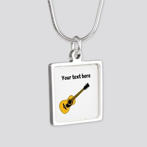 Customizable Guitar Silver Square Necklace