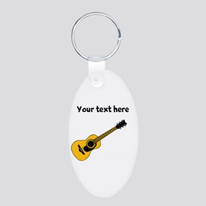 Customizable Guitar Aluminum Oval Keychain