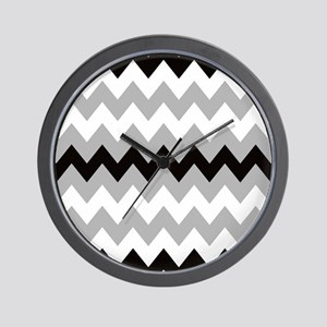 Black Gray and White Stripe Wall Clock