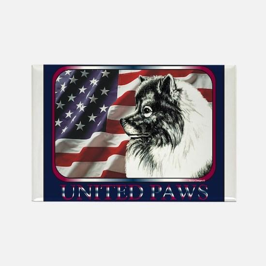 Keeshond USA Flag Rectangle Magnet