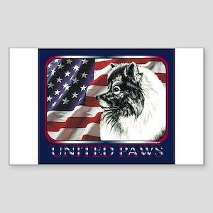 Keeshond USA Flag Rectangle Sticker