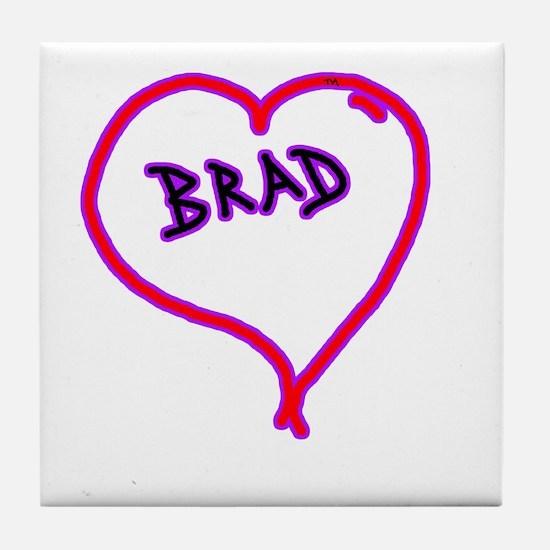 i love brad heart Tile Coaster