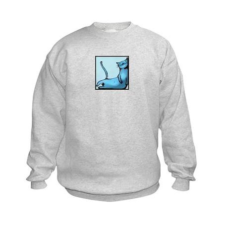blue smiling cat design Kids Sweatshirt