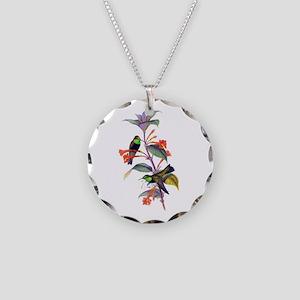 Hummingbirds Necklace Circle Charm