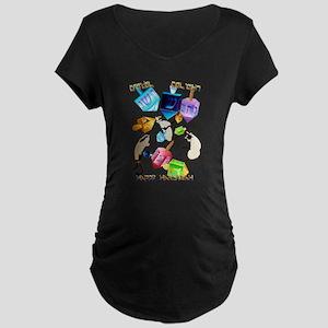 Delightful Dreidels-lettered Maternity Dark T-Shir