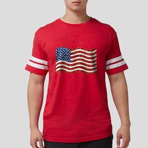 sequin american flag Mens Football Shirt