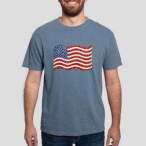 sequin american flag Mens Comfort Colors Shirt