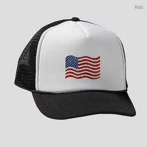 sequin american flag Kids Trucker hat
