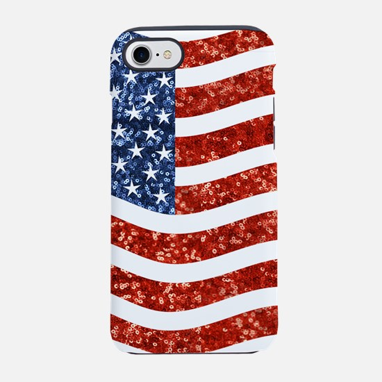 sequin american flag iPhone 7 Tough Case