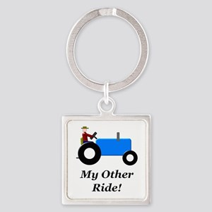 My Other Ride Blue Square Keychain