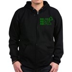 Reduce Reuse Reycle Zip Hoodie (dark)