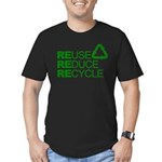 Reduce Reuse Reycle Men's Fitted T-Shirt (dark)