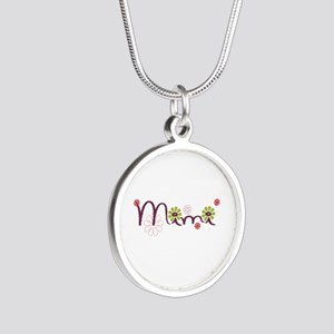 Mimi Flowers Silver Round Necklace