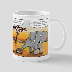 snake trying to gulp an elephant Mug