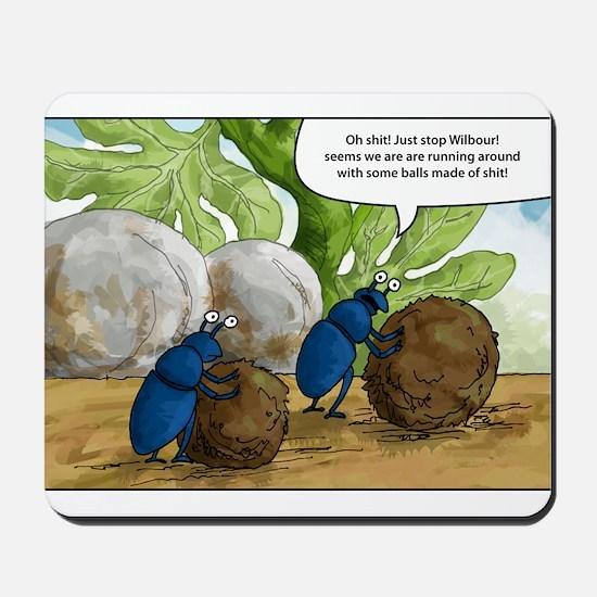 dung beetles cartoon Mousepad