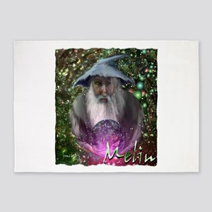 merlin the magician art illustration 5'x7'Area Rug