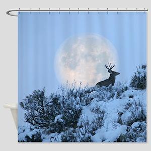 Mule Deer Moon Shower Curtain