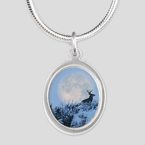 Buck deer moon Silver Oval Necklace