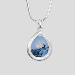Buck deer moon Silver Teardrop Necklace