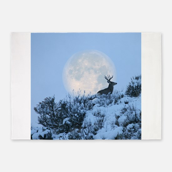 Buck deer moon 5'x7'Area Rug