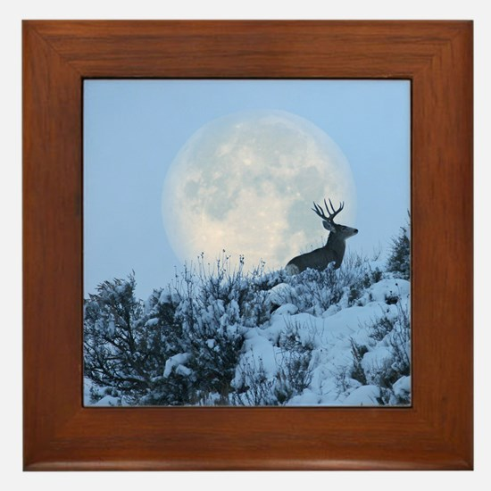 Buck deer moon Framed Tile