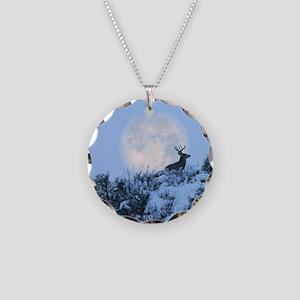 Buck deer moon Necklace Circle Charm