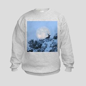 Buck deer moon Kids Sweatshirt