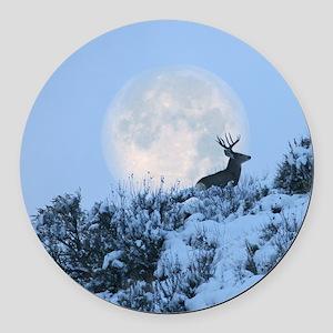 Buck deer moon Round Car Magnet