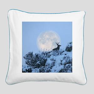 Buck deer moon Square Canvas Pillow