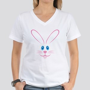 Pink Bunny Face Women's V-Neck T-Shirt