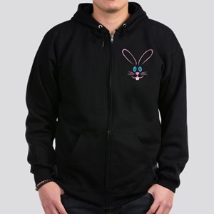 Pink Bunny Face Zip Hoodie (dark)