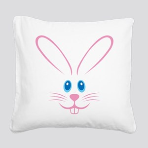 Pink Bunny Face Square Canvas Pillow
