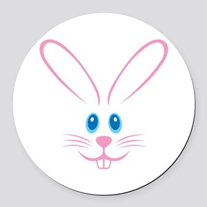 Pink Bunny Face Round Car Magnet