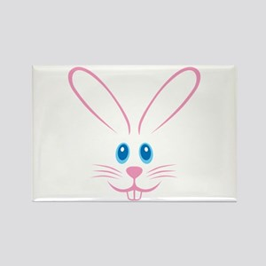 Pink Bunny Face Rectangle Magnet