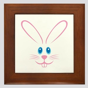 Pink Bunny Face Framed Tile