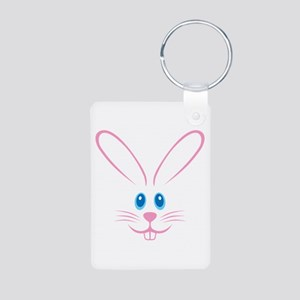 Pink Bunny Face Aluminum Photo Keychain