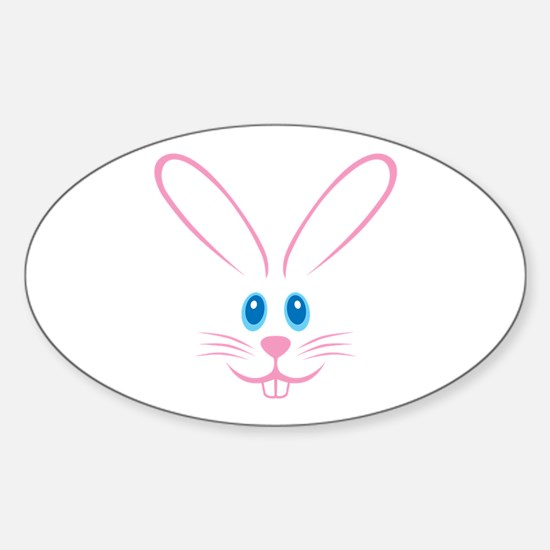 Pink Bunny Face Sticker (Oval)