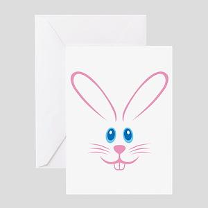Pink Bunny Face Greeting Card